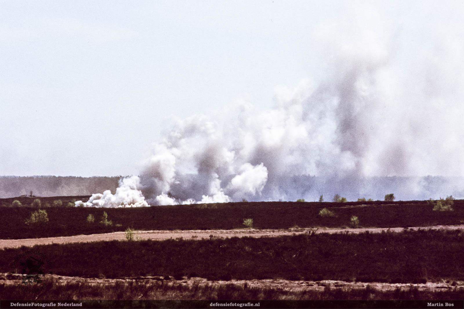 Na de oefening stond de hei in brand